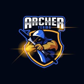 Archer homme esport modèle de conception de logo illustration