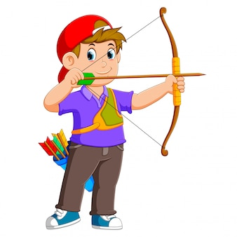 L'archer professionnel archer avec le bon posant