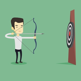 Archer visant avec l'arc et la flèche sur la cible.