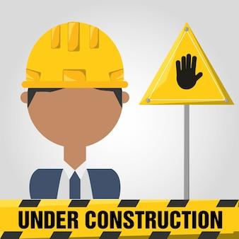 Archictec homme sous le concept de construction