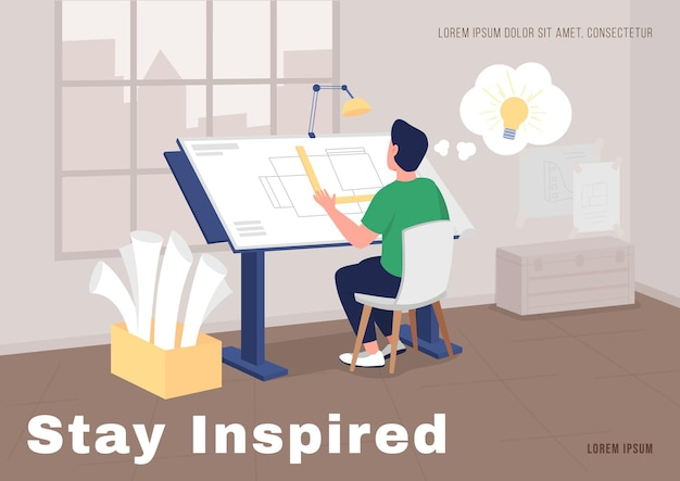 Architecte au travail affiche modèle vectoriel plat. projet d'architecte d'intérieur. brochure, conception de livret d'une page avec des personnages de dessins animés. dépliant de séjour inspiré, dépliant avec espace de copie