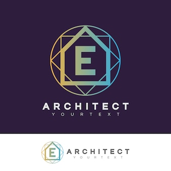 Architecte initial lettre e logo design