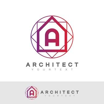 Architecte initial lettre a logo design
