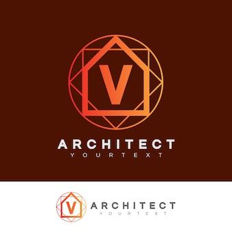 Architecte initial lettre v logo design