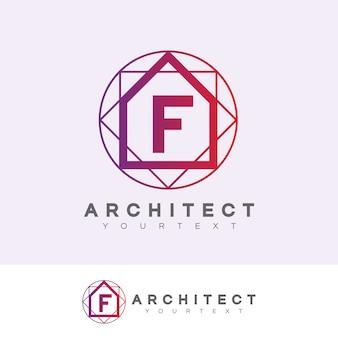 Architecte initiale lettre f création de logo