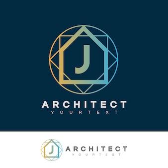 Architecte initiale lettre j création de logo