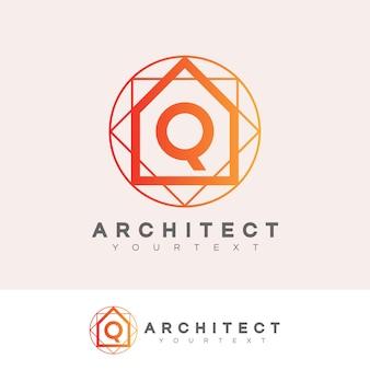 Architecte initiale lettre q logo design