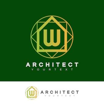 Architecte initiale lettre w logo design