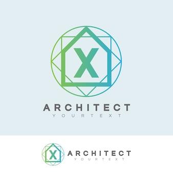 Architecte initiale lettre x création de logo