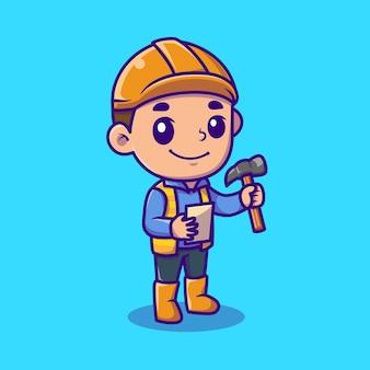 Architecte mignon tenant illustration d'icône de dessin animé de marteau. concept d'icône de personnes profession isolé. style de bande dessinée plat