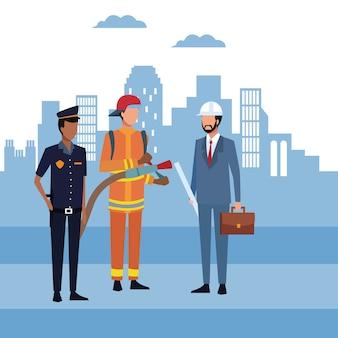Architecte et ouvriers