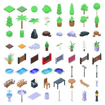 Architecte paysagiste ensemble d'icônes paysagistes, style isométrique