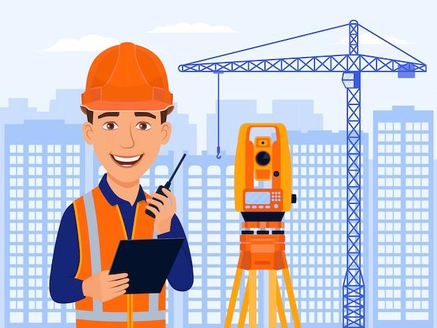 Architecte de sourire de dessin animé avec station totale et équipement de mesure