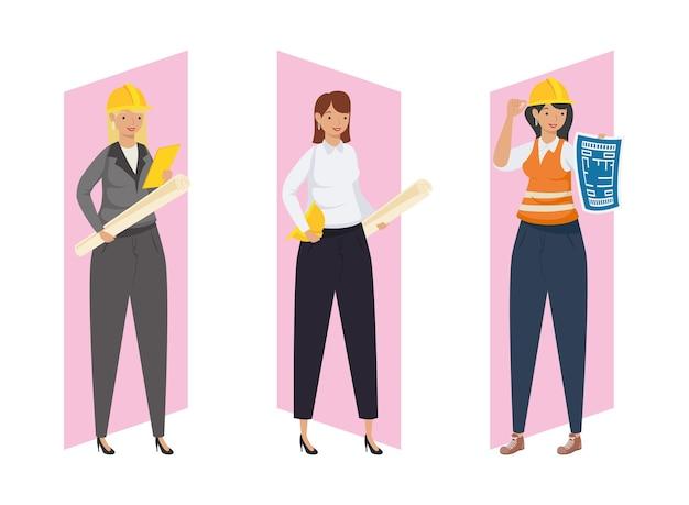Architectes et ingénieurs femmes avec casques et plans de conception de remodelage de la construction et thème de travail illustration vectorielle