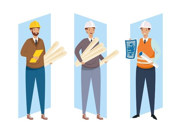 Architectes et ingénieurs hommes avec casques et plans de conception de remodelage de la construction et thème de travail illustration vectorielle