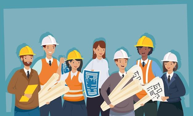 Architectes et ingénieurs personnes avec casques et plans de conception de remodelage de la construction et thème de travail illustration vectorielle