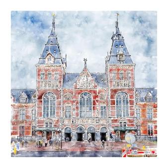 Architecture amsterdam pays-bas croquis aquarelle illustration dessinée à la main