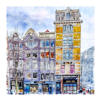 Architecture amsterdam pays-bas croquis aquarelle illustration dessinée à la main