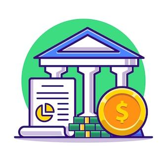 Architecture de banque avec argent et accord plat.