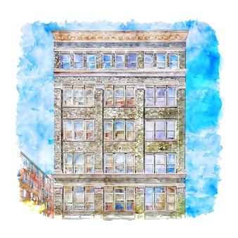 Architecture cincinnati ohio états-unis croquis aquarelle dessinés à la main