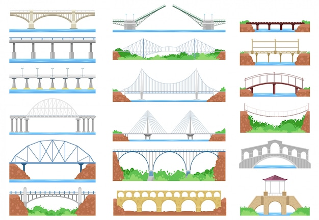 Architecture de croisement urbain de pont et pont-construction pour l'illustration de transport ponté ensemble de pont-rivière avec chaussée sur fond blanc