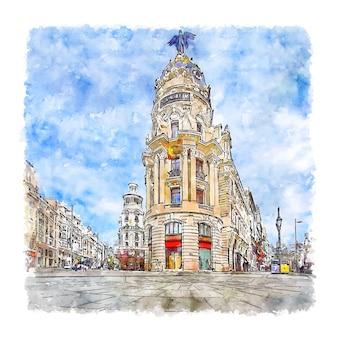 Architecture espagne croquis aquarelle illustration dessinée à la main