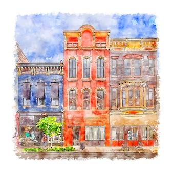Architecture états-unis aquarelle illustration dessinée à la main