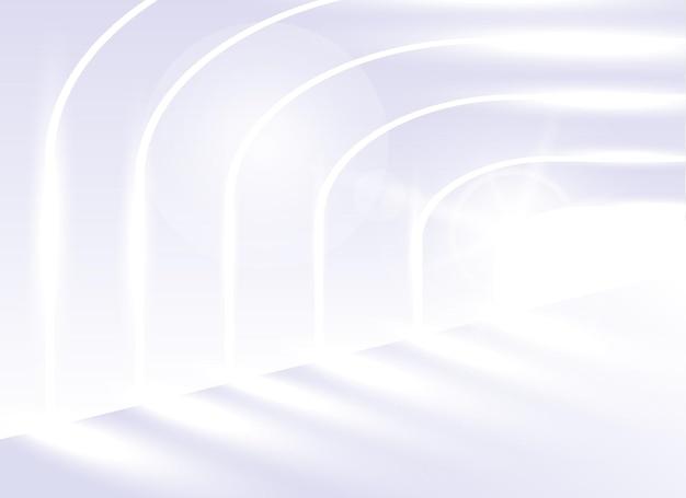 Architecture de fond de vecteur abstrait. point de vue architectural. les lignes inclinées de l'architecture. couloir blanc brillant dans un bâtiment moderne ou un tunnel lumineux.