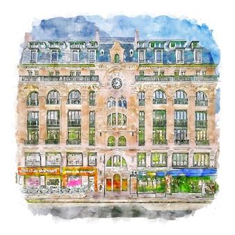 Architecture france aquarelle croquis dessinés à la main illustration