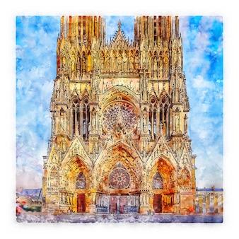 Architecture france croquis aquarelle illustration dessinée à la main