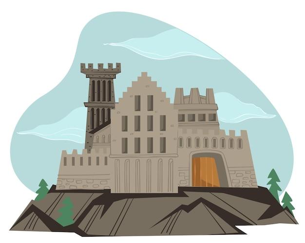 Architecture gothique médiévale, forteresse sombre isolée aux murs épais. structure en pierre avec tours et entrée. illustration de conte de fées du royaume ou du château. monument effrayant. vecteur dans un style plat