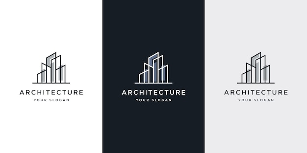 Architecture de logo avec inspiration de conception de logo de concept de ligne