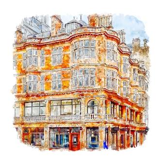 Architecture londres royaume-uni croquis aquarelle illustration dessinée à la main