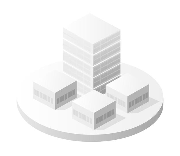 L'architecture de maison de bâtiment intelligent d'icône de bâtiment blanc est une idée d'illustration isométrique urbaine de style plat d'équipement d'entreprise technologique