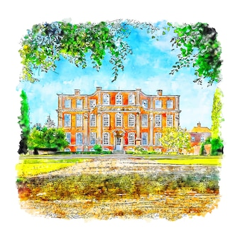 Architecture maison chicheley hall croquis aquarelle dessinés à la main