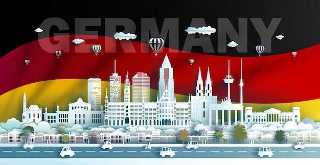 Architecture De Monuments De Voyage De L'allemagne à Berlin Munich Et En Bavière En Papier Origami Papier Découpé Vecteur Premium