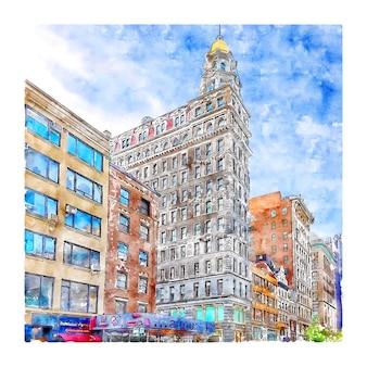 Architecture new york aquarelle croquis dessinés à la main illustration
