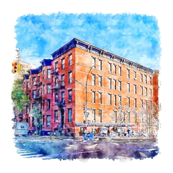 Architecture new york aquarelle croquis illustration dessinée à la main