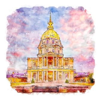 Architecture paris france aquarelle croquis dessinés à la main illustration