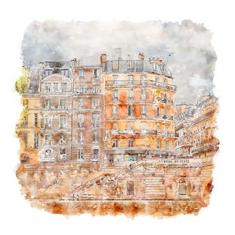 Architecture paris france aquarelle croquis illustration dessinée à la main