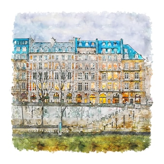 Architecture Paris France Aquarelle Croquis Illustration Dessinée à La Main Vecteur Premium