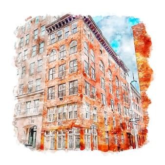 Architecture tribeca new york city aquarelle croquis illustration dessinée à la main