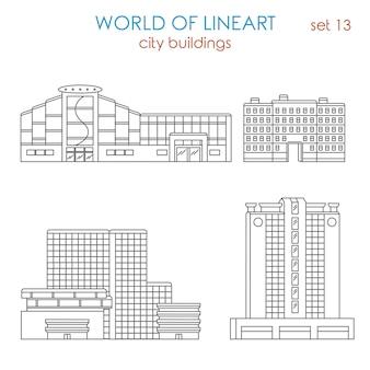 Architecture ville public municipal centre commercial centre d'affaires immobilier bâtiment al lineart style ensemble monde de collection d'art en ligne
