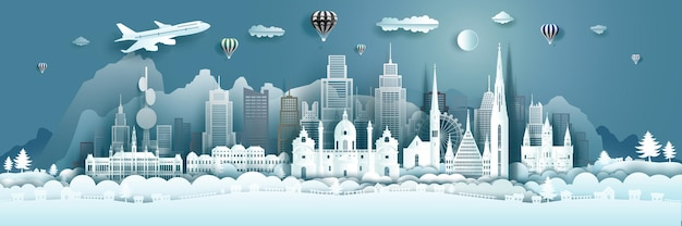 Architecture de voyage monuments de l'autriche à vienne, célèbre ville d'europe avec des ballons à air chaud. visite de salzbourg avec la capitale populaire panoramique en origami en papier