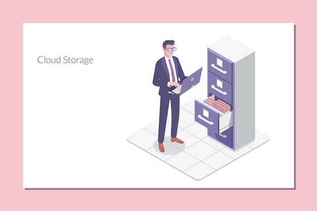 Archive de dossiers isométrique. armoire de stockage en nuage