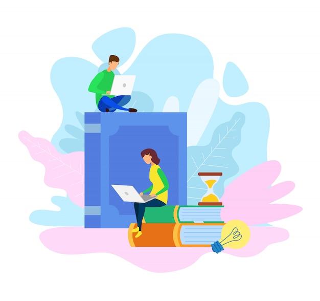 Archives de la bibliothèque électronique, illustration vectorielle de l'apprentissage en ligne
