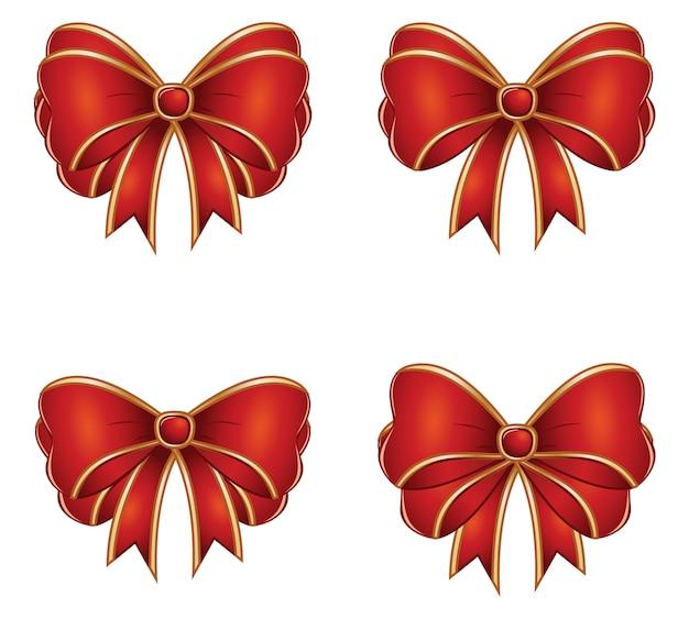 Arcs Cadeaux Rouges Vecteur Premium