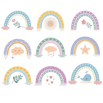 Arcs-en-ciel abstraits isolés multicolores avec un motif.