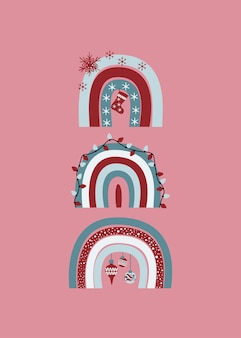 Arcs-en-ciel décorés de fête de noël mignon