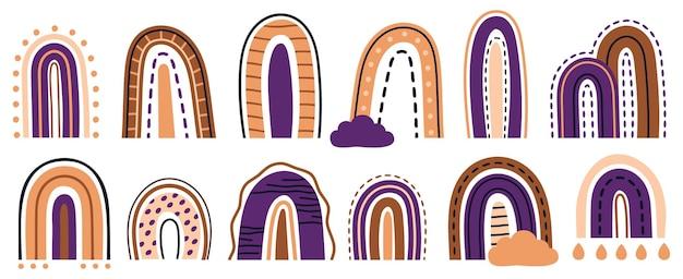 Arcs-en-ciel minimalistes mignons doodle dessinés à la main abstraite